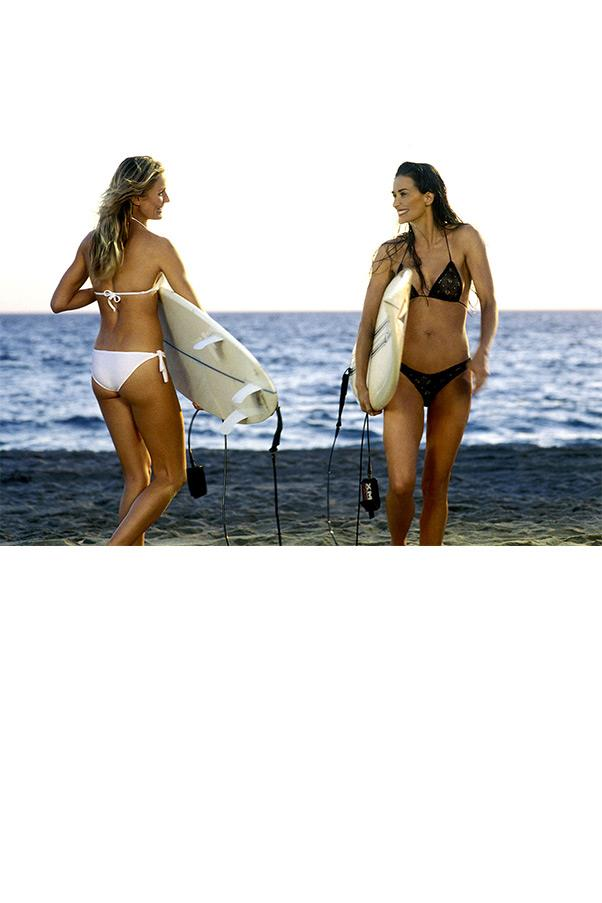 <strong><em>Charlie's Angels: Full Throttle</em></strong> <br><br> CHARLIE'S ANGELS: FULL THROTTLE, 2003 At 41, Demi Moore in a black crocheted design made a case for wearing a barely-there bikini at almost any age, stealing the screen from fellow Charlie's Angel Cameron Diaz.