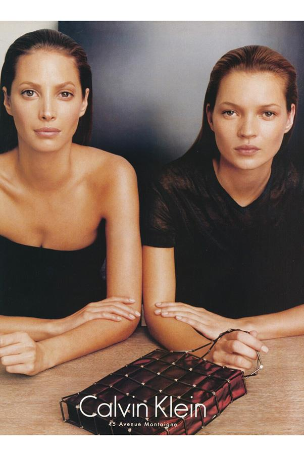 9. SLICKED BACK, WET LOOK HAIR<BR><BR> While wet hair has been a common fixture on the backstage beauty circuit on and off for decades, the '90s marked a specific, uncharacteristically sleek style popularised by Christy Turlington and Kate Moss in this iconic Calvin Klein campaign.