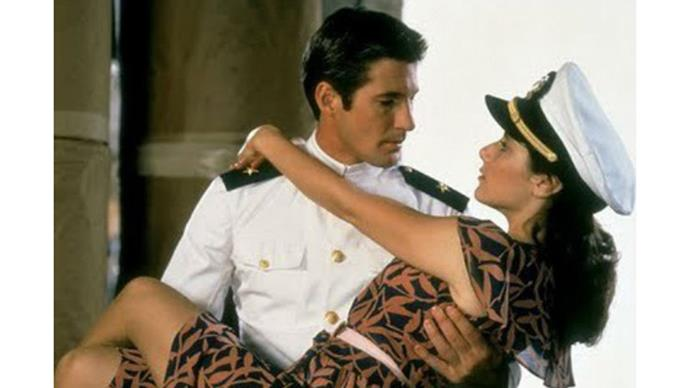 <strong>5. AN OFFICER AND A GENTLEMAN (1982)</strong><br><br> Uniforms! Testosterone! Hats! Young Richard Gere! Hands up if you've also fantasised about being swept off your feet and literally walked into the sunset?