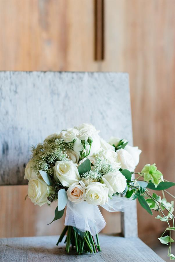 """<strong>On the flowers:</strong> <br><br> We met Janice Ripley from <a href=""""http://bloomzflowersbali.com/"""">Bloomz</a> and immediately trusted her. We weren't overly specific - our brief was white and green. I love hydrangeas so I asked her to include them. We were incredibly happy with what she did."""