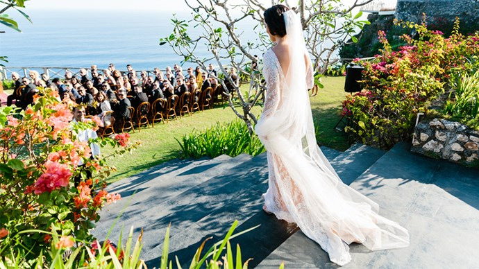 <strong>On her arrival:</strong> <br><br> We were staying at the Estate so I literally had to walk out of my villa and I was walking down the aisle.