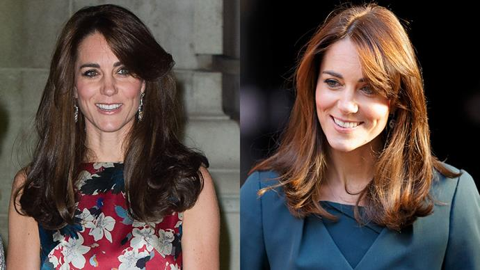 <strong>Kate Middleton</strong><br><br> The Duchess of Cambridge showed off a fresh new haircut with full, flirty volume at the ends - the perfect length for softly highlighting bone structure.