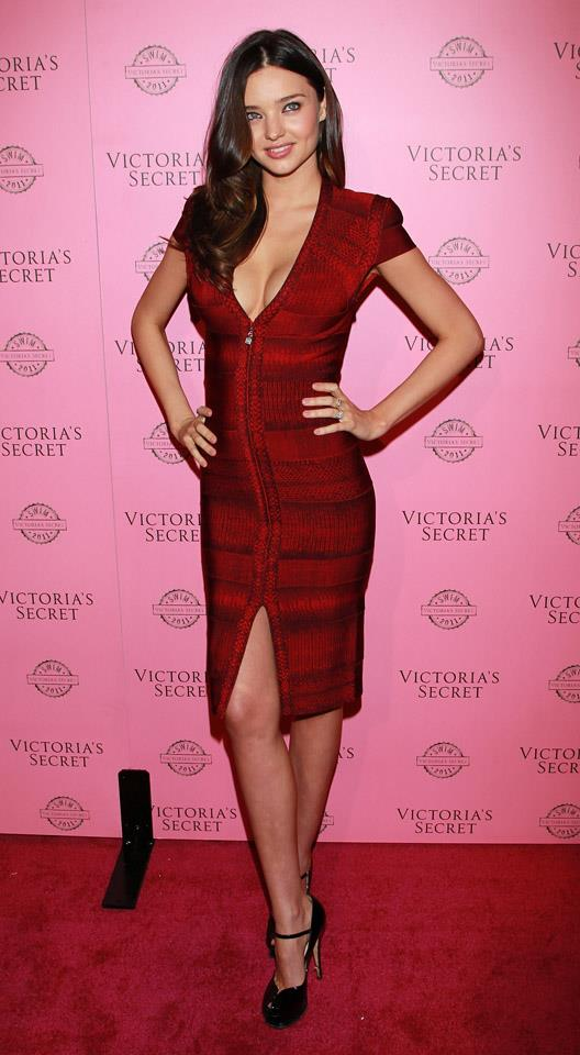<strong>March 30, 2011</strong> <br><br> Miranda rocks this red body-con dress with the perfect waves at the Victoria's Secret SWIM Collection Launch.