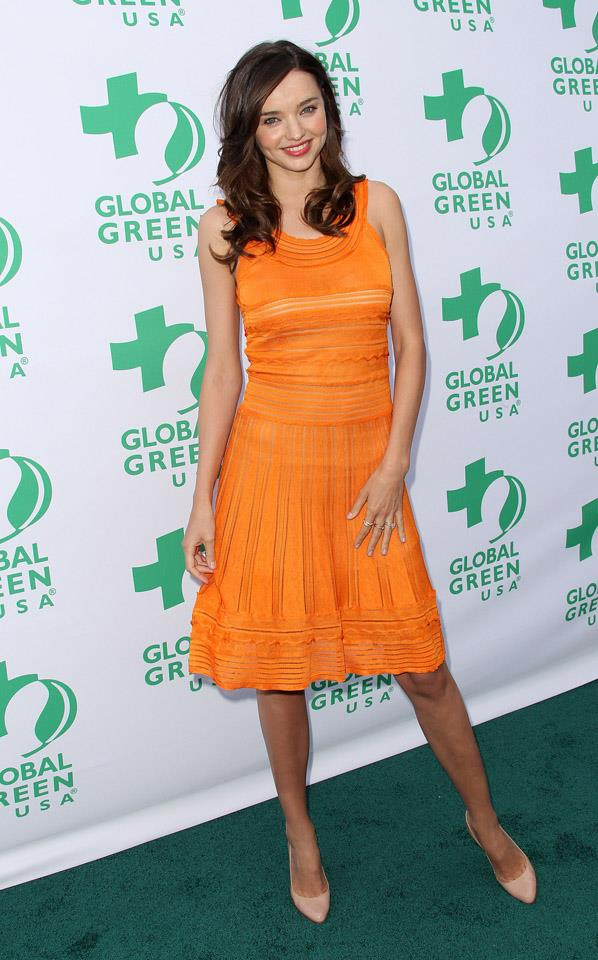 <strong>June 4, 2011</strong><br><br> Miranda pairs a bright summery dress with a nude pump at the Global Green USA Millennium Awards.