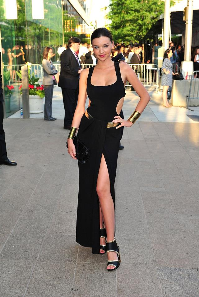 <strong>June 6, 2011</strong><br><br> Miranda donned a cut-out Michael Kors two-piece to the CDFA Awards in 2011.