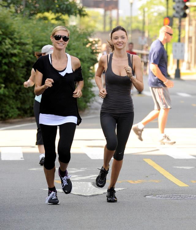 <strong>July 9, 2011</strong><br><Br> Miranda dons an all-grey Nike ensemble for a work-out with fellow Victoria's Secret alumni Heidi Klum.