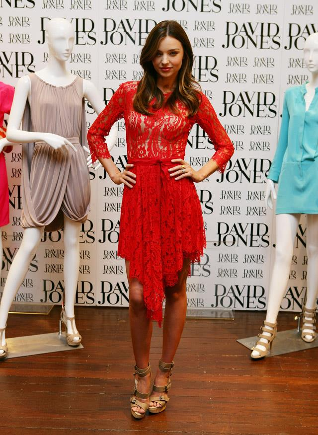 <strong>July 28, 2011</strong><br><br> Miranda rocks a bright red number by Lover at a David Jones launch - she was a DJs brand ambassador at the time.