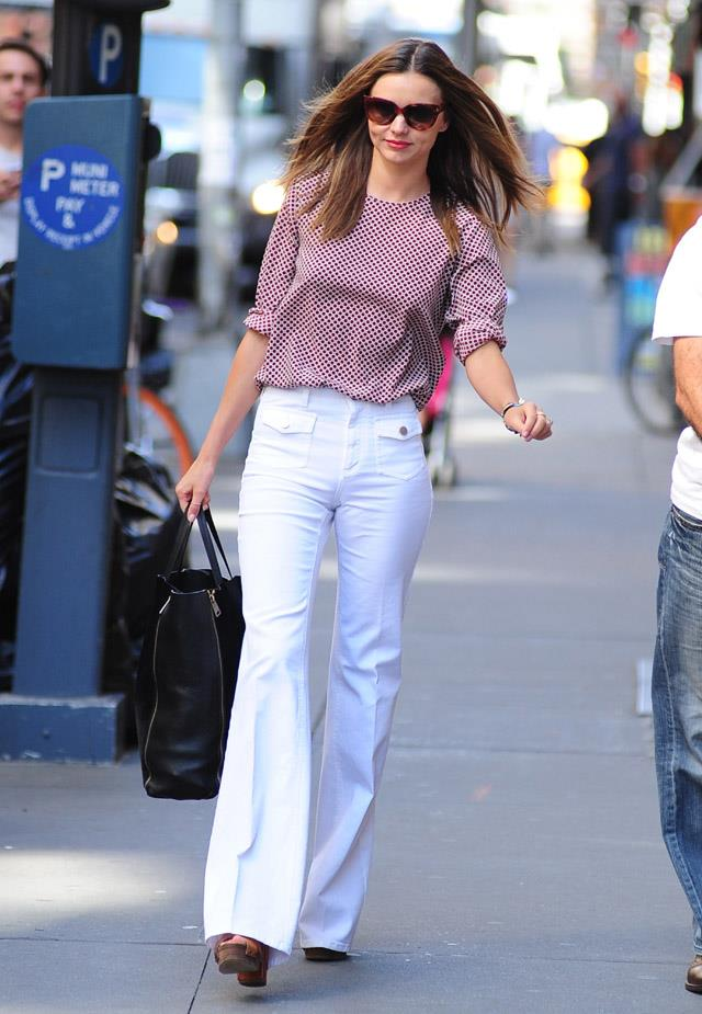 <strong>June 27, 2012</strong><br><br> Miranda owns the flared pant before the fashion world fell back in love with the '70s, off-duty in New York.