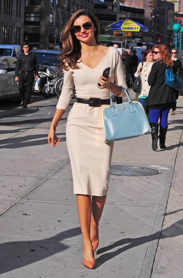 <strong>November 12, 2012</strong><br><br> Miranda nails accessorising (that bag! Those shoes!) off-duty in New York, the day after the Victoria's Secret fashion show.