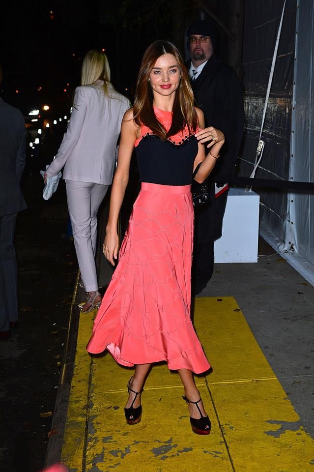 <strong>November 13, 2012</strong><br><br> Miranda donned a coral and black Giulietta ensemble to attend the CFDA Awards in New York.
