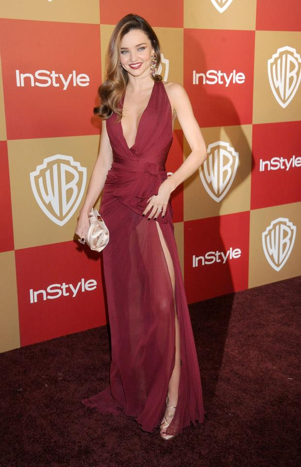 <strong>January 13, 2013</strong><br><br> Miranda Kerr wore a burgundy Zuhair Murad chiffon gown to the Warner Bros. and InStyle Golden Globe after party.