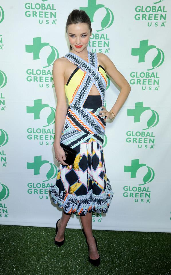 <strong>February 20, 2013</strong><br><br> Miranda donned a Peter Pilotto dress to Global Green USA's Pre-Oscar party.