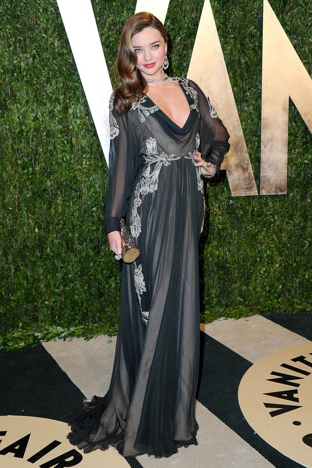 <strong>February 24, 2013</strong><br><br> Miranda wore a draped Valentino dress  to the Vanity Fair Oscar party.
