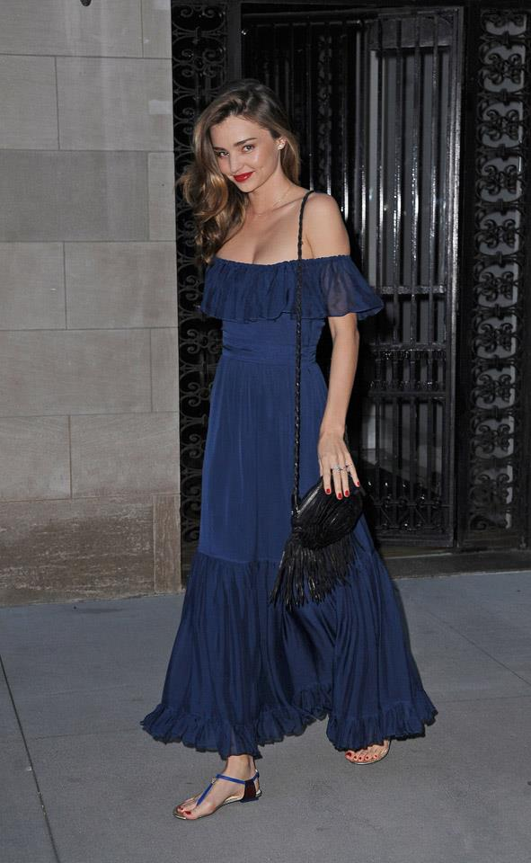 <strong>August 24, 2013</strong><br><br> Miranda teamed this navy maxi-and-sandal ensemble with a bright red pop, courtesy of her lips and nails.