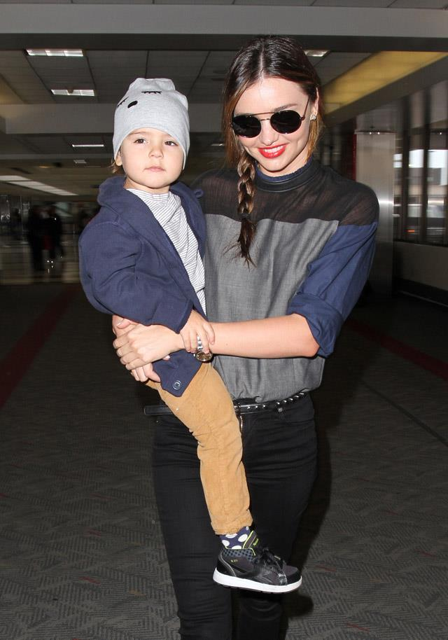 <strong>November 20, 2013</strong><br><br> Miranda with son Flynn, then aged two, in Los Angeles.