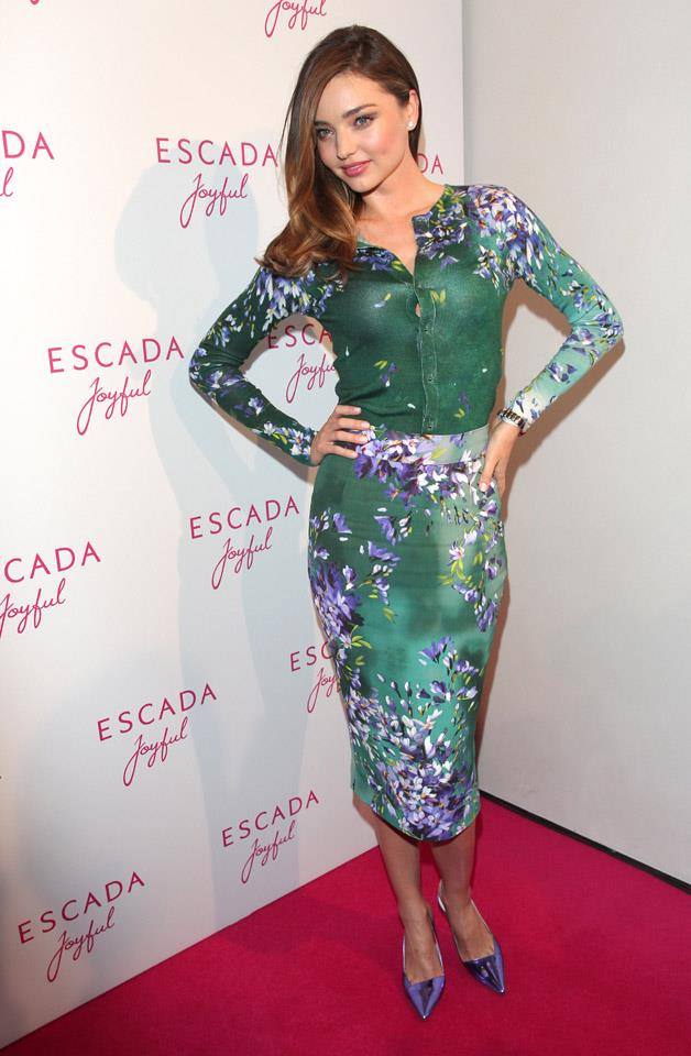 <strong>July 29, 2014</strong><br><br> Miranda donned an Escada dress to the brands 'Joyful' event in Munich, Germany.