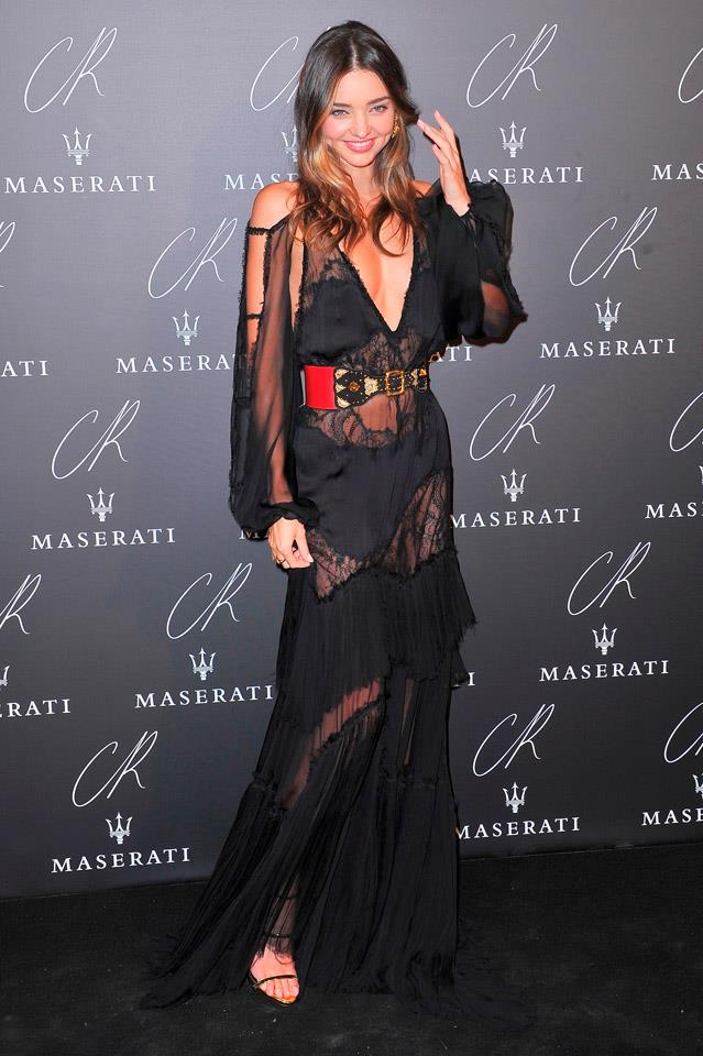 <strong>September 30, 2014</strong><br><br> Miranda slipped into this sheer Emilio Pucci number to celebrate the launch of the fifth issue of the CR Fashion Book at Paris fashion week.