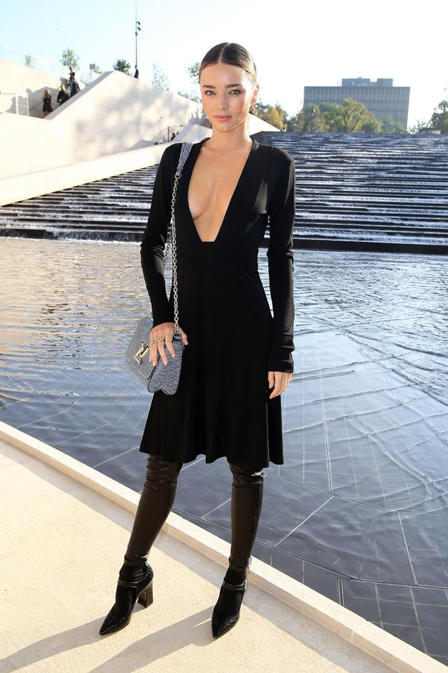 <strong>October 1, 2014</strong><br><br> Miranda wore Louis Vuitton to the brands Spring/Summer 2015 show in Paris.