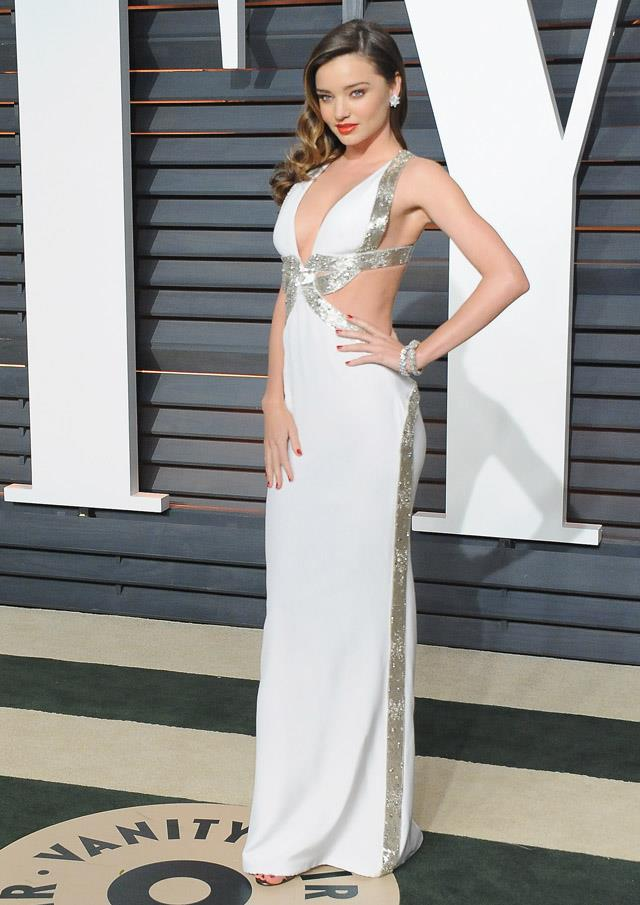 <strong>February 22, 2015</strong><br><br> Miranda wore custom Emilio Pucci to the 2015 Vanity Fair Oscar party.
