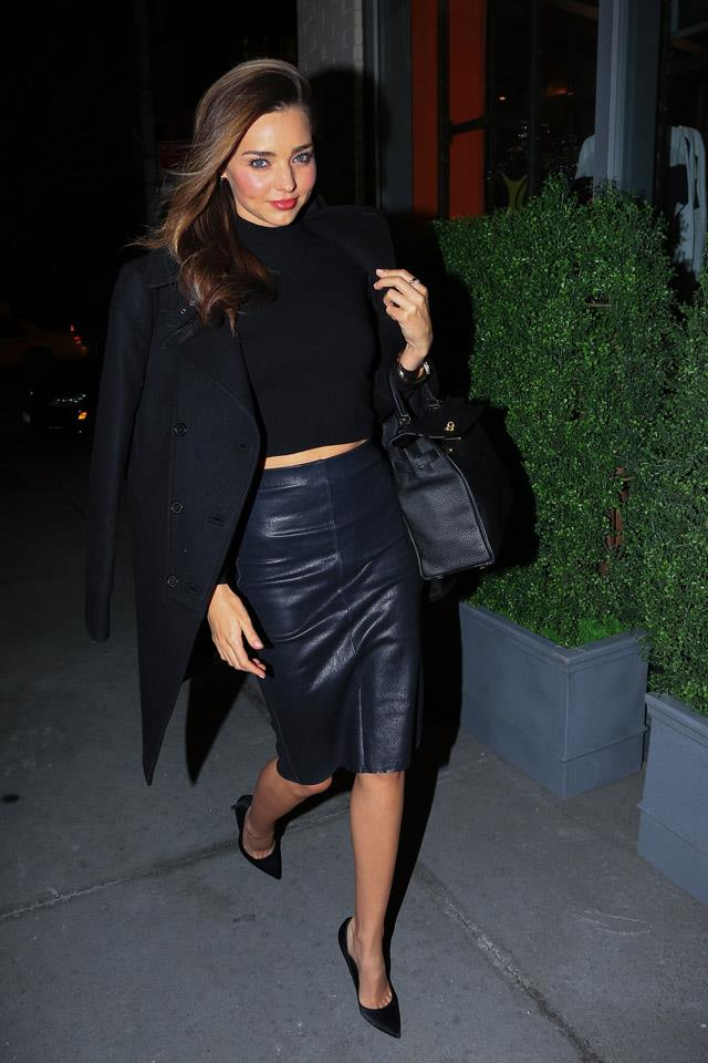 <strong>January 31, 2014</strong><br><br> Miranda opted for the staple off-duty model uniform - black on black on black on black - out in New York city.