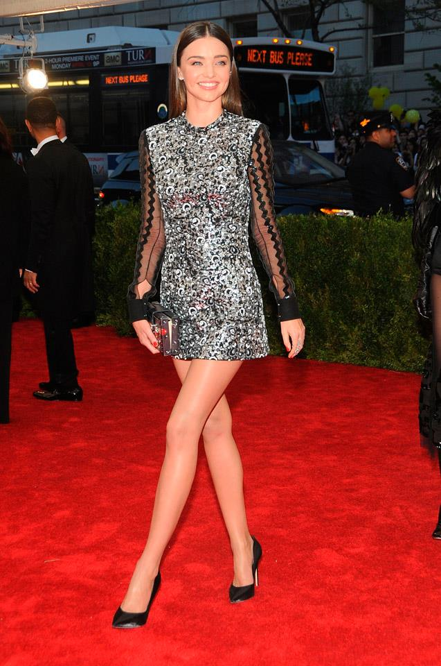 <strong>May 4, 2015</strong><br><br> Miranda donned a simple custom Louis Vuitton dress to this year's Met Gala.