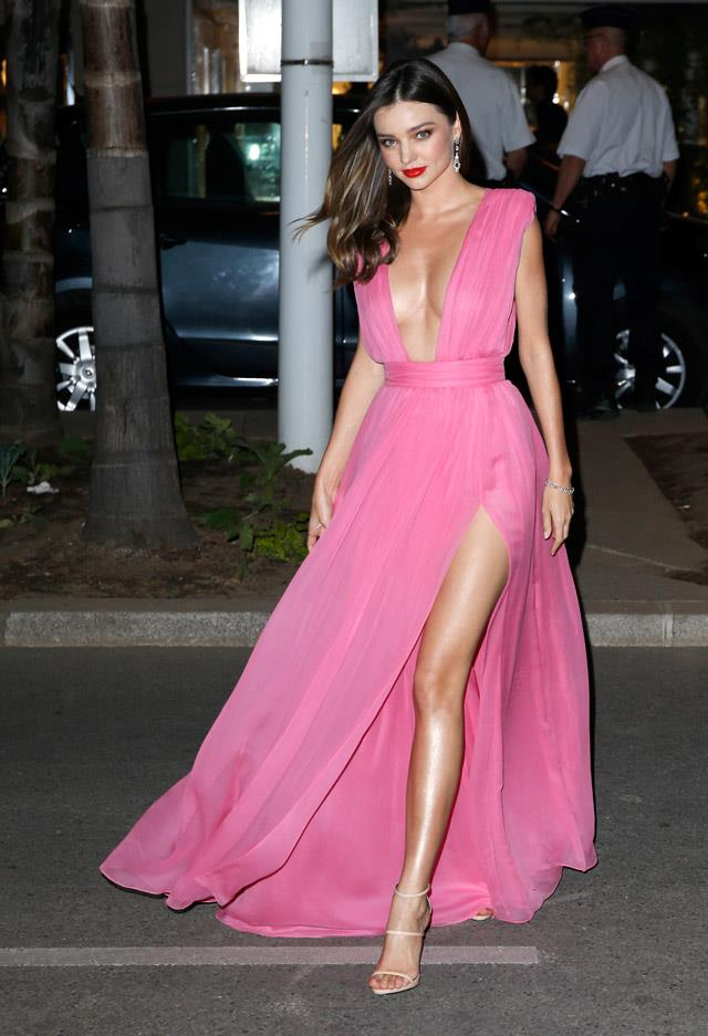 <strong>Mary 14, 2015</strong><br><br> Miranda made headlines when she wore this plunging Emanuel Unagro gown to the Cannes film festival.