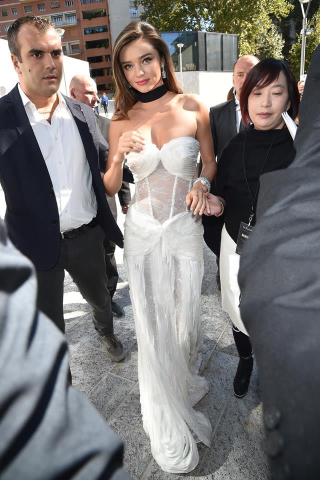 <strong>September 24, 2015</strong><br><br> Miranda changed into another La Koradior at the show's S/S 2016 runway show at Milan fashion week.