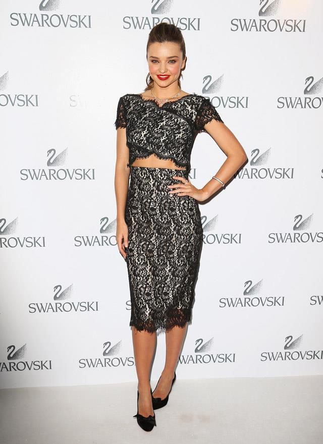 <strong>May 14, 2014</strong><br><br> Miranda rocked a two-piece by Lover to attend a Swarovski gala dinner at Bennelong restaurant, Sydney.