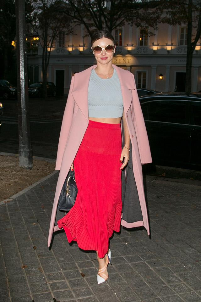 <strong>October 6, 2015</strong><br><br> Miranda pulled off a full colour-blocking look while out and about in Paris.