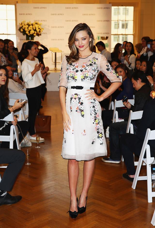 <strong>May 20, 2014</strong><br><br> Miranda wore a dreamy Erdem number to a Kora Organics media call at David Jones, Sydney.