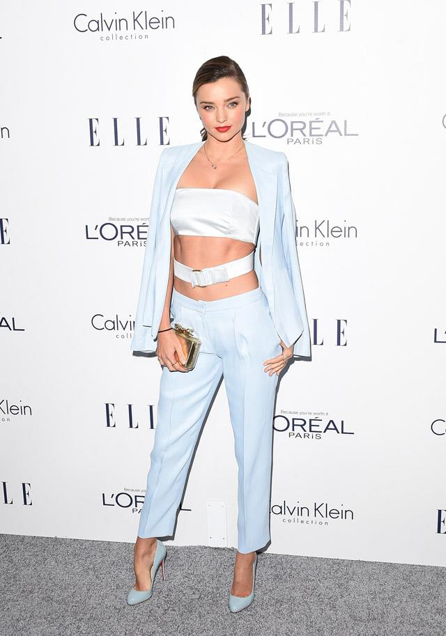<strong>October 19, 2015</strong><br><br> Miranda showed off her extremely impressive abs in this ice-blue Calvin Klein suit at the <em>ELLE</em> Women in Hollywood awards.