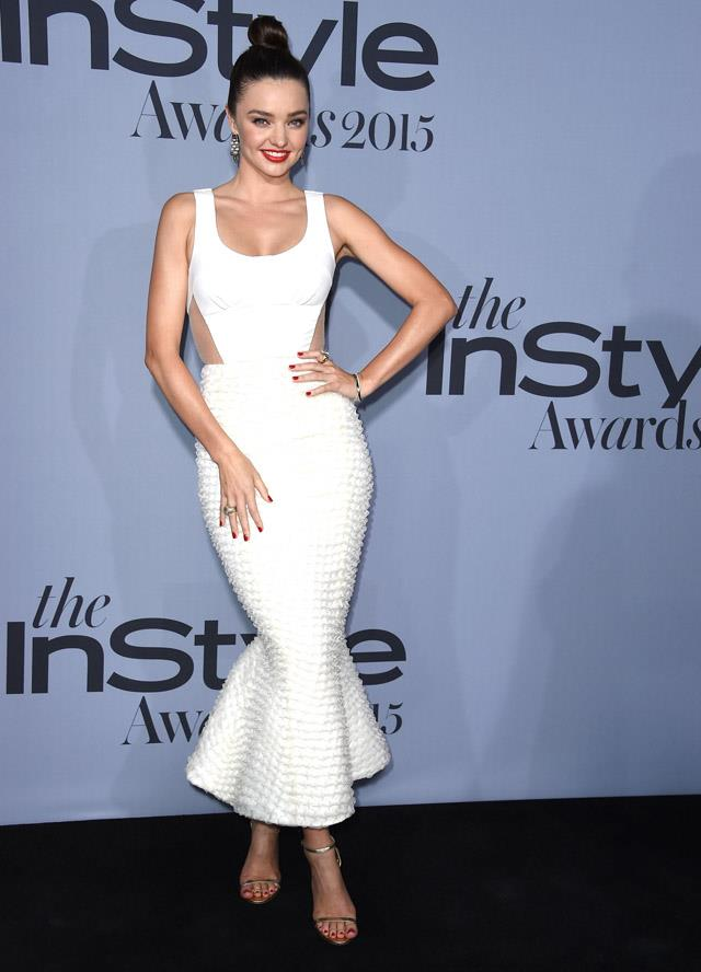 <strong>October 26, 2015</strong><br><br> Miranda rocked a figure-hugging Ulyana Sergeenko couture dress to the InStyle Awards.