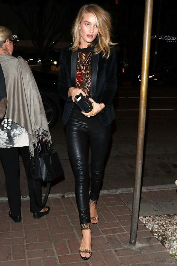 <strong>LEATHERED UP</strong><br><br> Rosie Huntington-Whiteley