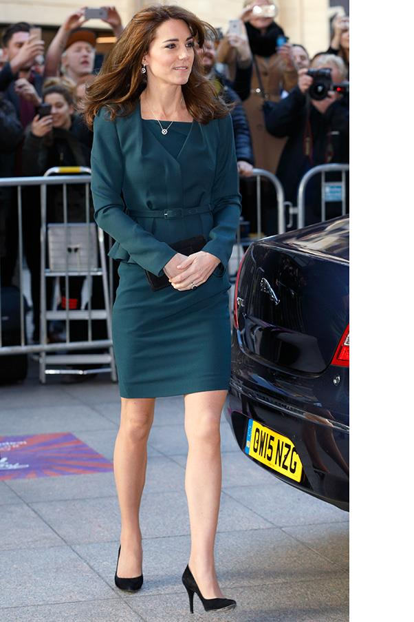 The Duchess paired a teal suit with black pumps at an ICAP event in London.