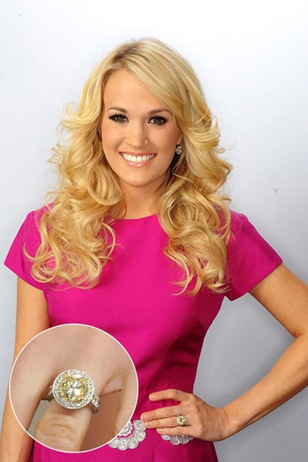Carrie Underwood wears a canary yellow diamond.