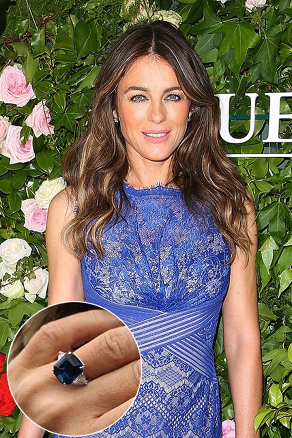 Liz Hurley scored this sapphire ring from Shane Warne.