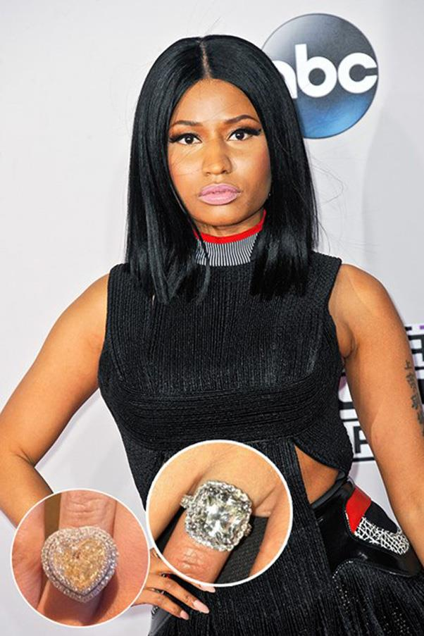 After telling boyfriend Meek Mill that she requires at least three engagement rings before marriage, Nicki Minaj has scored these two so far. Nice work.
