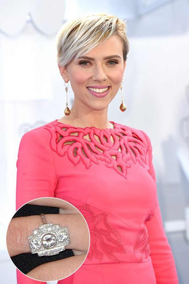 Scarlett Johansson's ring is art deco inspired and reportedly vintage.