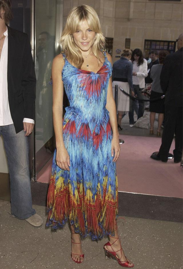 Working bold colour at the launch party for Alexander McQueen's new store in 2003.