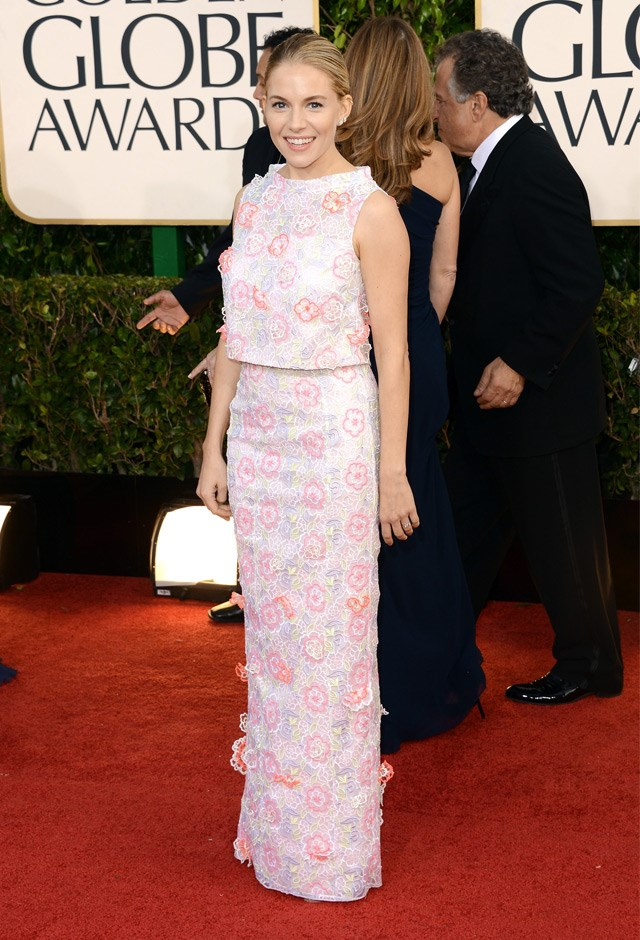 Every bit pretty in pink in an Erdem two-piece at the 70th Annual Golden Globe Awards, 2013.