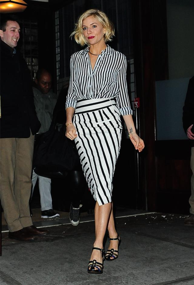 Definitive proof that clashing stripes can look chic, spotted in New York in January 2015.