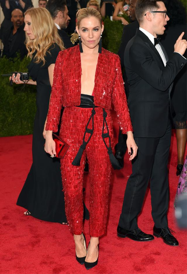 Sienna donned this chic tuxedo by Thakoon to the 2015 Met Gala.