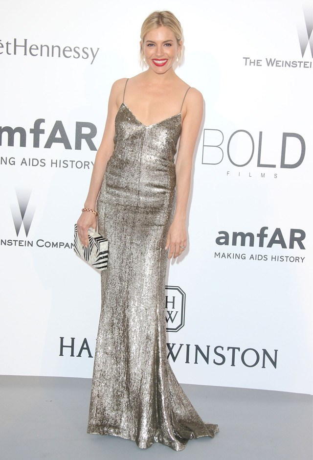 Possibly our favourite Sienna look of all time? In a Ralph Lauren Collection slip at amfAR's 22nd Cinema Against AIDS Gala, 2015.