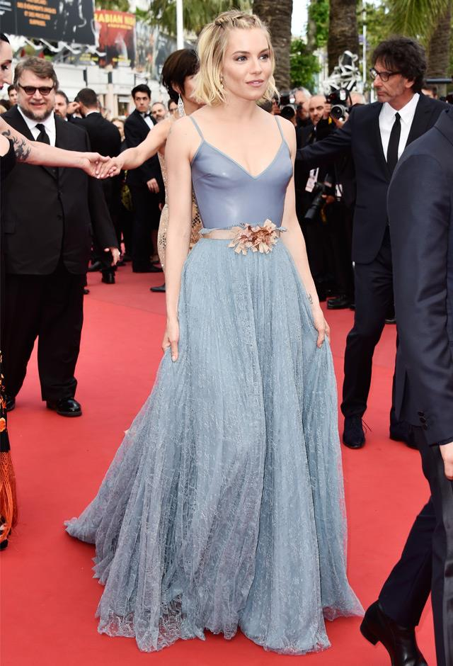Sienna wore powder blue Gucci at the closing ceremony of the 68th Annual Cannes Film Festival, 2015.