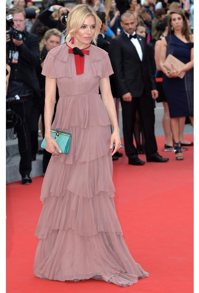 Sienna stole the show at Cannes this year. Case in point: This ruffled dust-pink Gucci gown worn to the premiere of <em>Macbeth</em>.