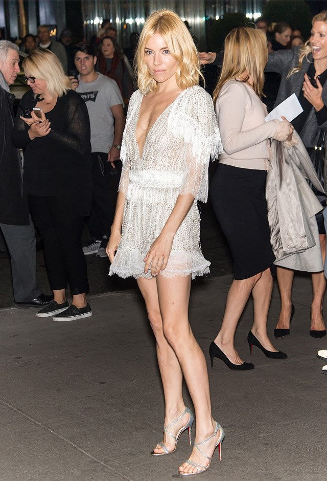 All legs in a sheer mini Rodarte number at the New York Premiere of <em>Burnt</em>, 2015.