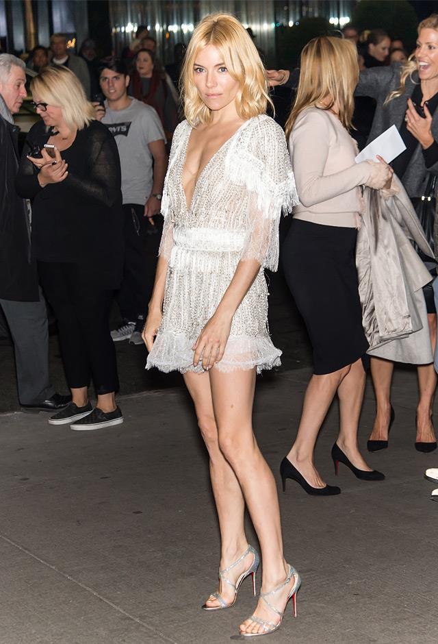 All legs in a sheer mini Rodarte number at the New York Premiere of <em>Burnt</em>, 2015.