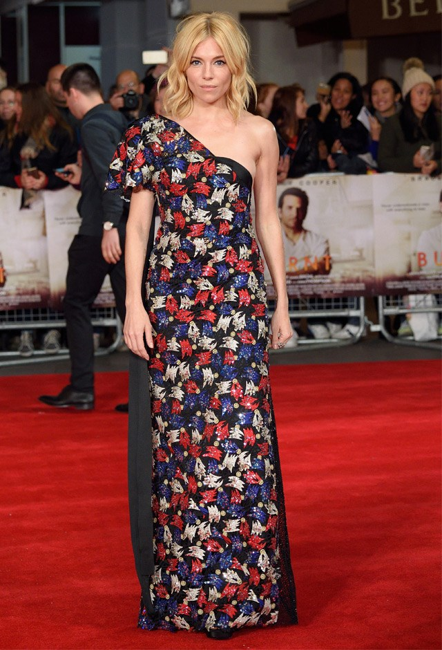 In a sleek asymmetical Marc Jacobs gown at the UK Premiere of <em>Burnt</em>, 2015.