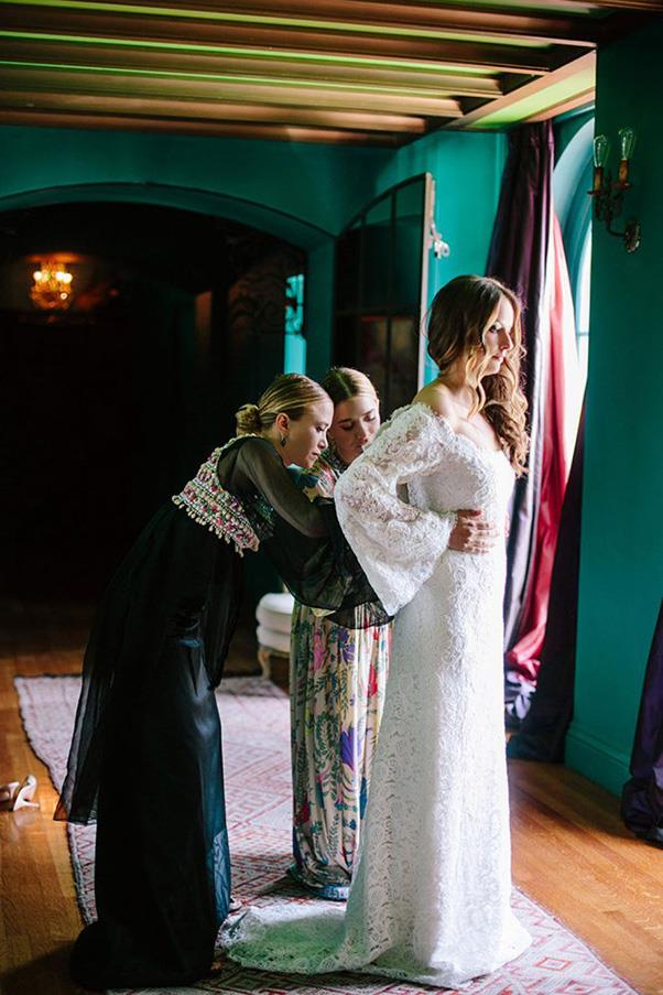 <strong>BRIDAL</strong><BR><BR> Mary-Kate and Ashley lent their design cred to BFF Molly Fishkin when they designed her wedding dress back in 2014. Here's hoping an extensive bridal line is in the works. <br><br> Photo: Heather Kincaid