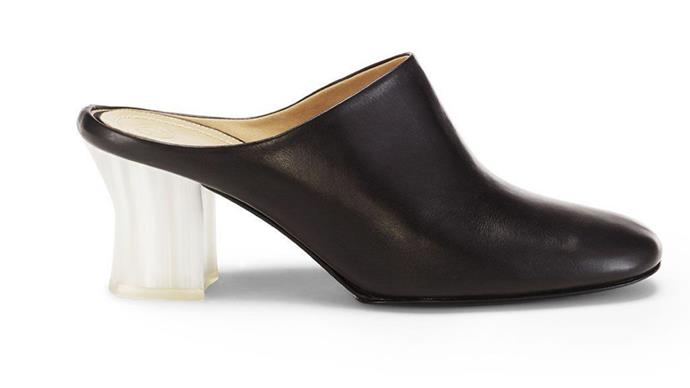 A mule with an acrylic block heel from The Row's new shoe collection.